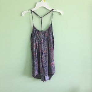 Purple flowered casual tank top